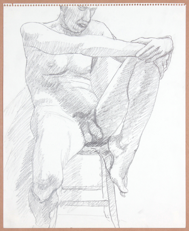 ND, Male Nude on Stool, Holding Leg, Pencil, 17x14, PPS 912.jpg