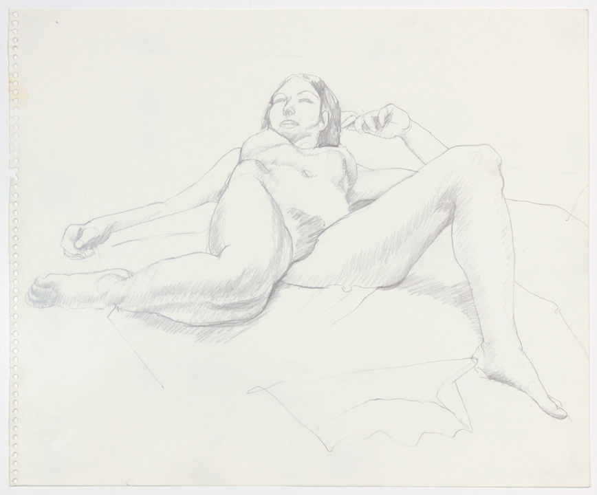 ND, Reclined Female with Right Leg Bent Back, Pencil, 13.875x17, PPS 884.jpg