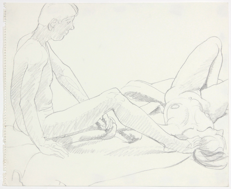ND, Seated Male and Female Reclined, Pencil, 14x17, PPS 885.jpg