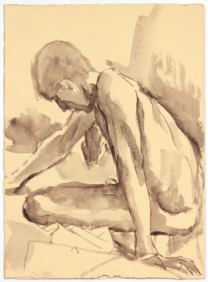 ND, Seated Male Model Leaning Forward, ink wash, 13.75x9.875, PPS 871.jpg
