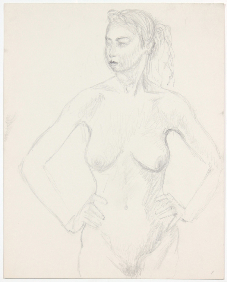 ND, Standing Female Model with Hands on Hip, Pencil, 13.875x10.875, PPS 873.jpg