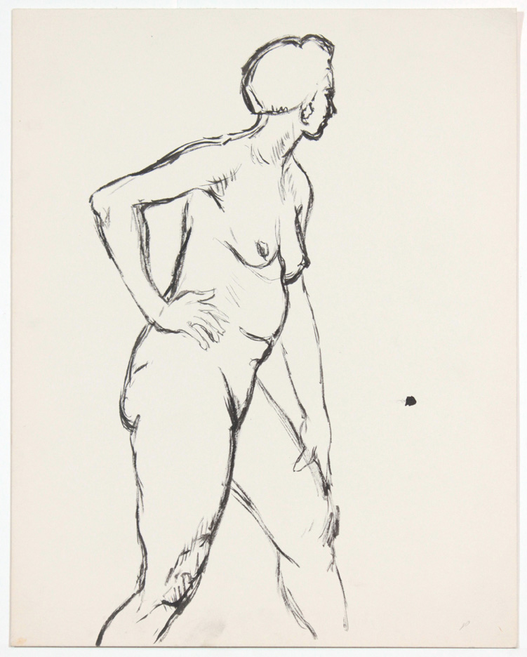 ND, Standing Female Nude with Right Hand on Hip, Ink, 13.875x10.875, PPS 874.jpg