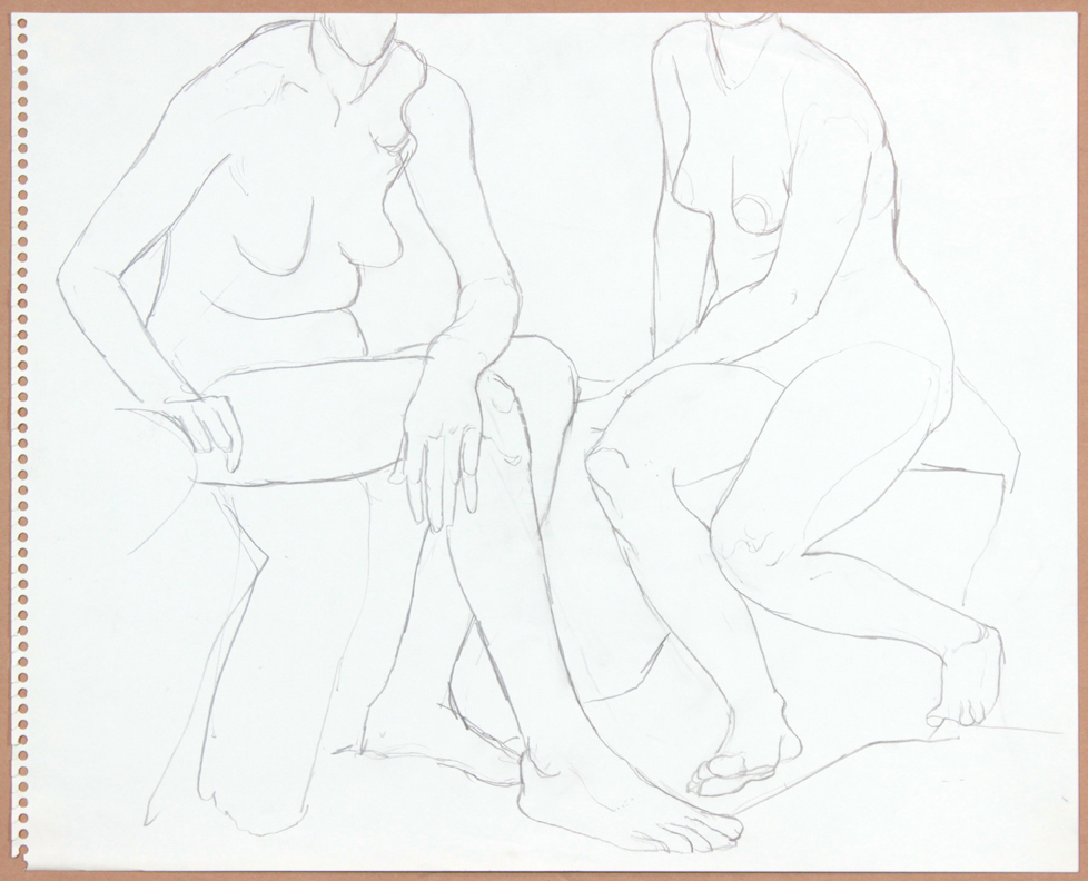 ND, Two Seated Females, Pencil, 13.75x17, PPS 910.jpg