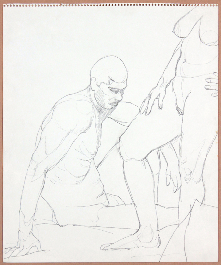 1964-65, Standing Female, Seated Male, Graphite, 17x14, PPS 917.jpg