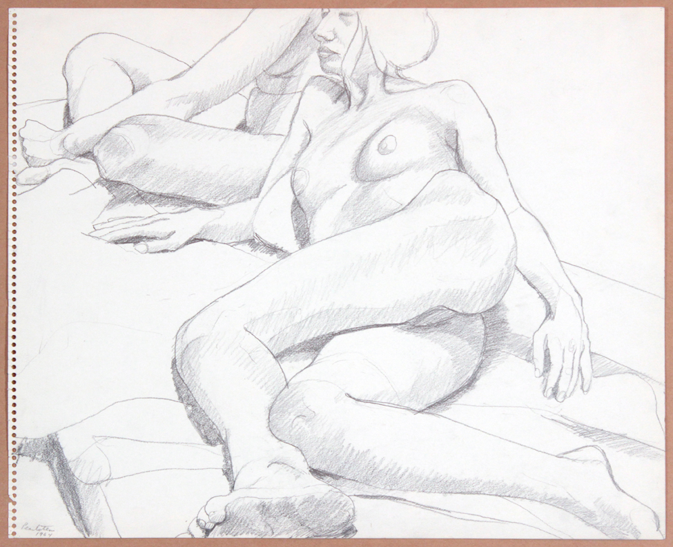 1964-65, Two Female Models, One Reclining, One Sitting, Graphite, 13.875x16.875, PPS 923.jpg