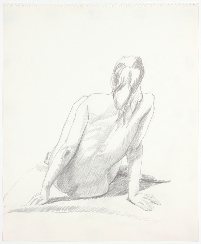 1960s, Back of Seated Female Model, Pencil, 17x13.75, PPS 896.jpg