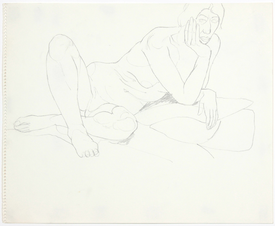 1960s, Leaning Female Model with Legs Crossed, Pencil, 14x17, PPS 898.jpg