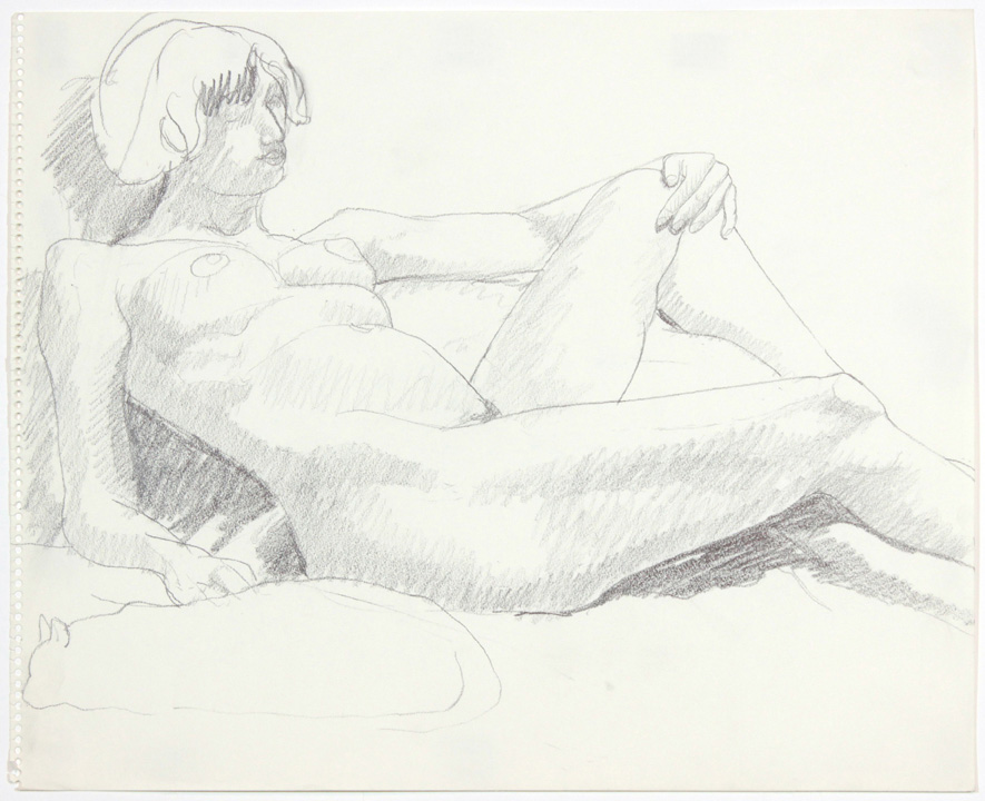 1960s, Leaning Female Nude with Cat, Pencil, 14x17, PPS 893.jpg