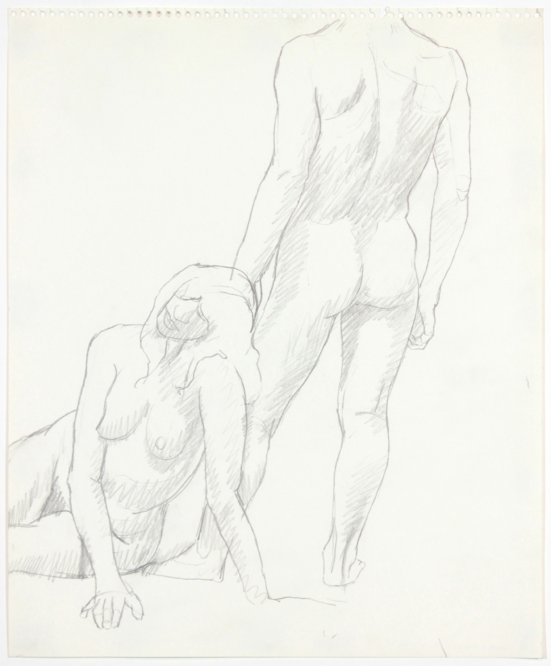 1960s, Seated Model and Back of Standing Model, Pencil, 17x13.875, PPS 895.jpg