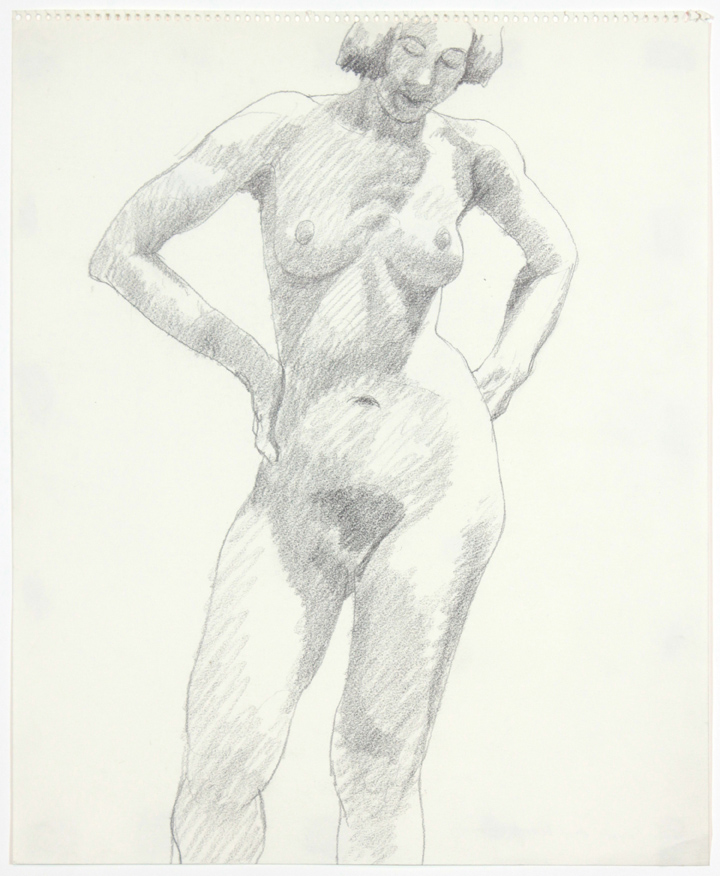 1960s, Standing Female, Head Dropped Forward, Pencil, 17x14, PPS 899.jpg