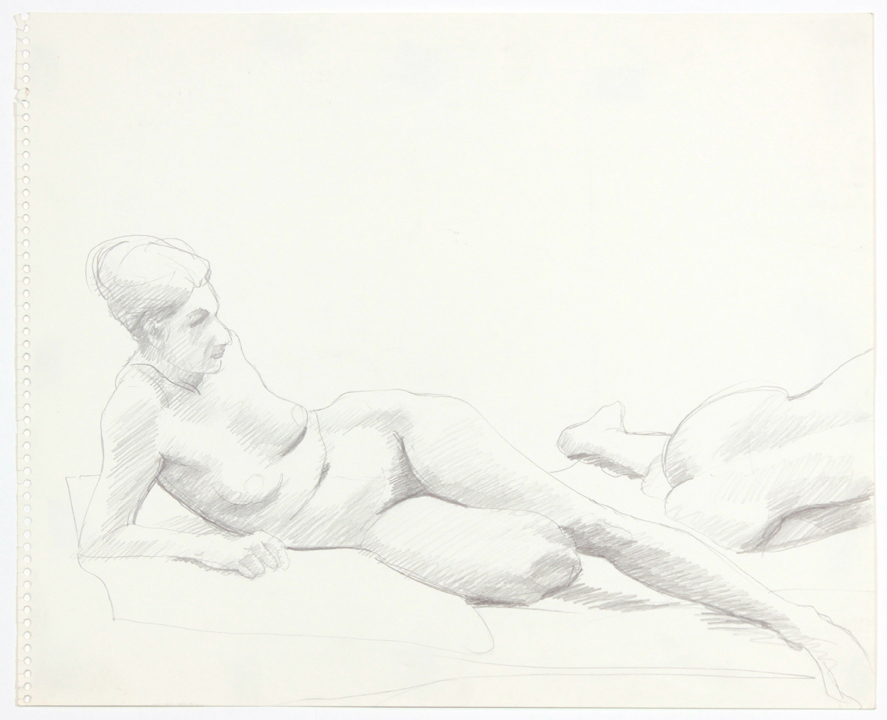 1960s, Two Female Nudes Reclining, Pencil, 13.75x17, PPS 894.jpg