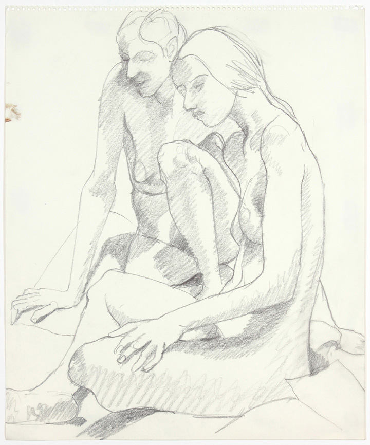 1960s, Two Saeted Female Models, Pencil, 17x14, PPS 897.jpg