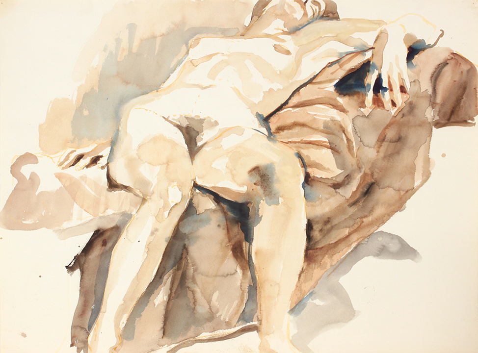 ND, Reclined Female, on Sofa  Watercolor 22 x 29.8125 in
