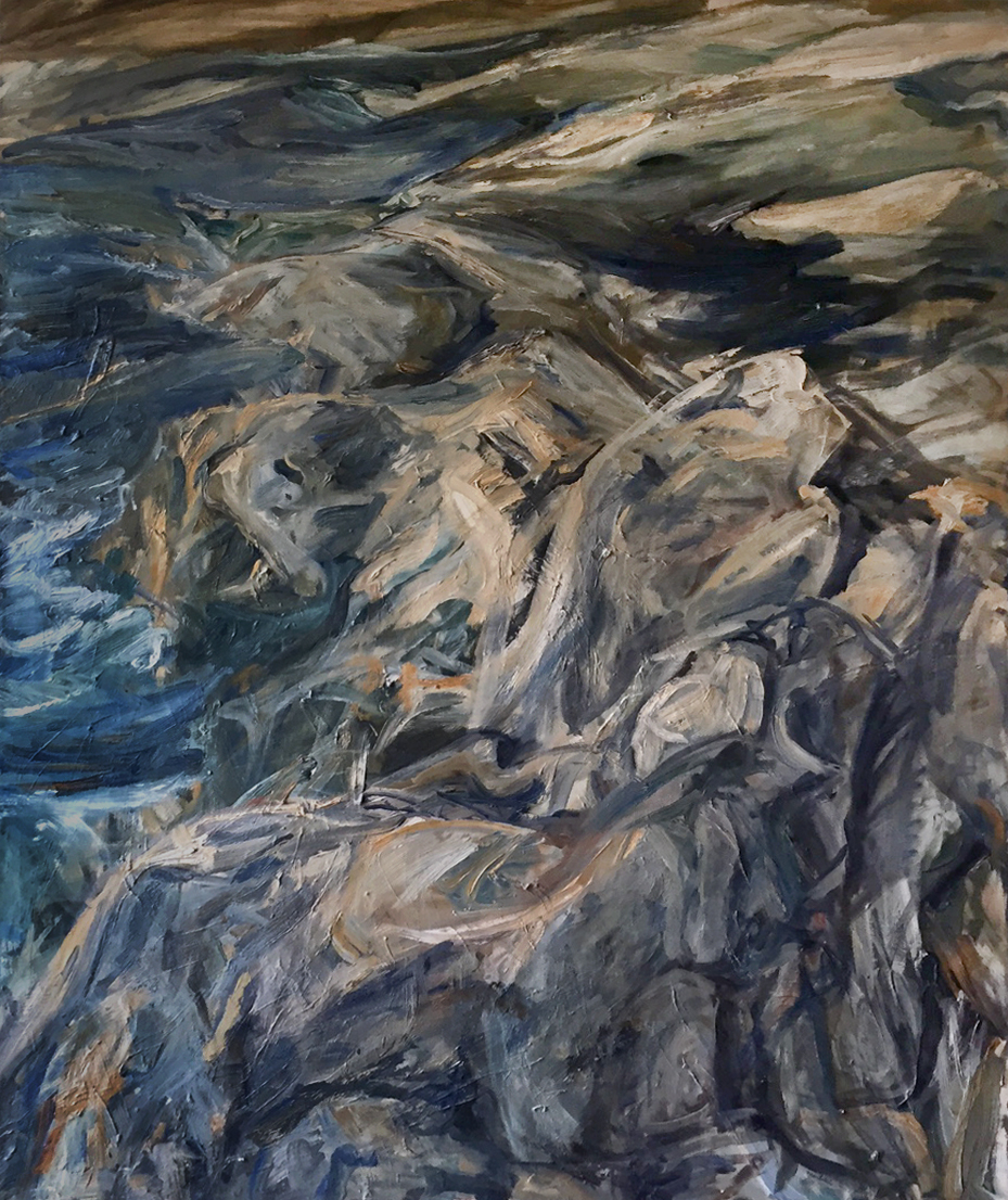 Rocks and Sea , 1956 Oil on Canvas 52 x 40 in