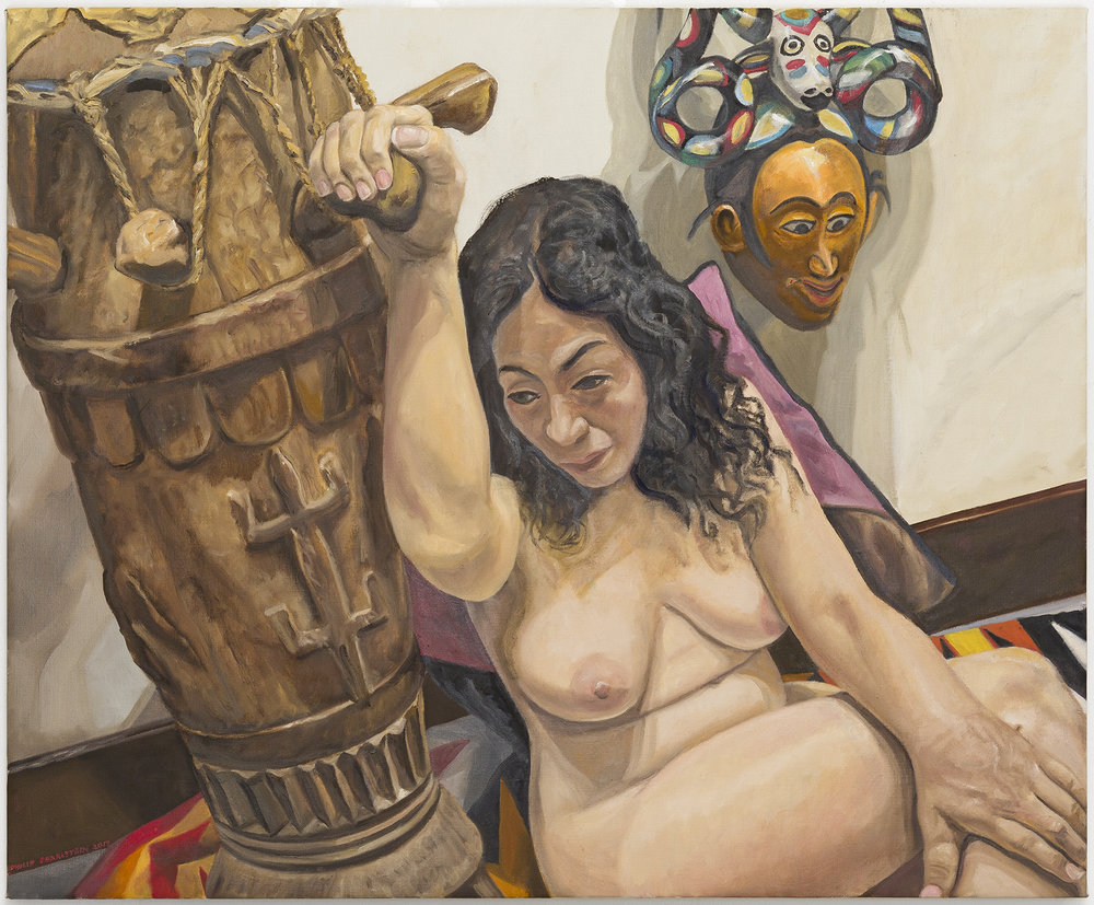 "Model with African Drum and Mask,  2017 Oil on Canvas 34"" x 28"""