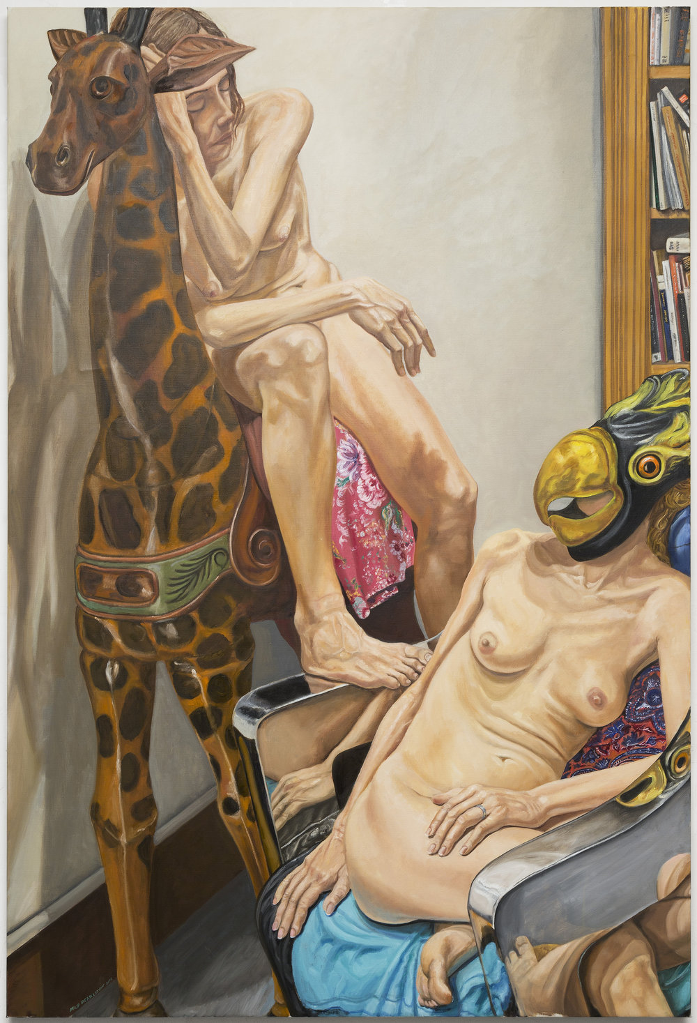 "Two Models with Giraffe, and Bird Masks, Chrome Chair and Book Shelves,  2016 Oil on Canvas 72"" x 48"""