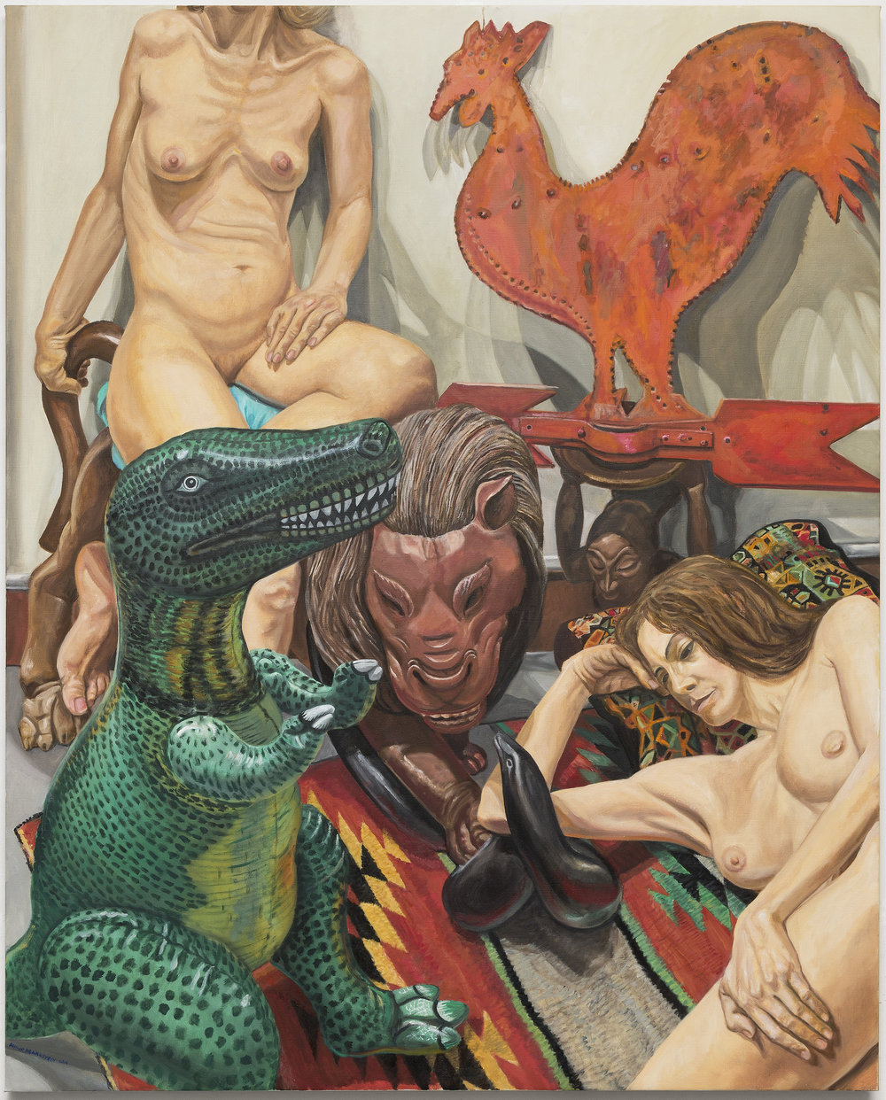 "Two Models, Rooster Weathervane, Luna Park Lion and Blow-up Dinosaur,  2016 Oil on Canvas 60"" x 48"""