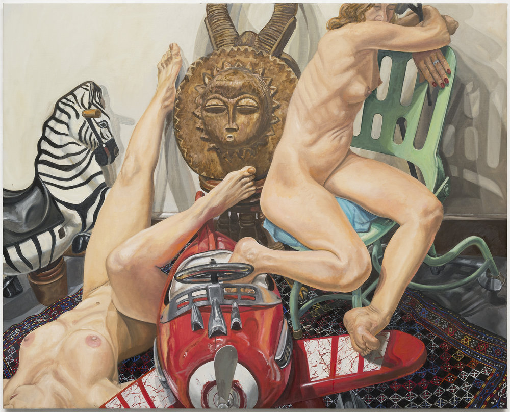 "Two Models, Kiddie Car Airplane, Zebra and African Mask,  2017 Oil on Canvas 48"" x 60"""