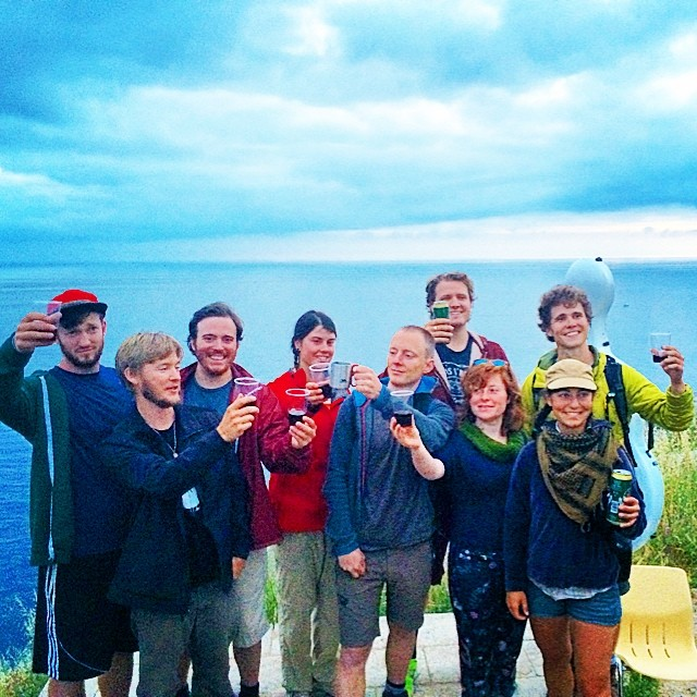 Day 41: cheers to the best crew ever! #walktofisterra #cellist #journey #caminodesantiago #complete #spiritual #pilgrimage #cello #documentary #teamwork #vino #thatsawrap