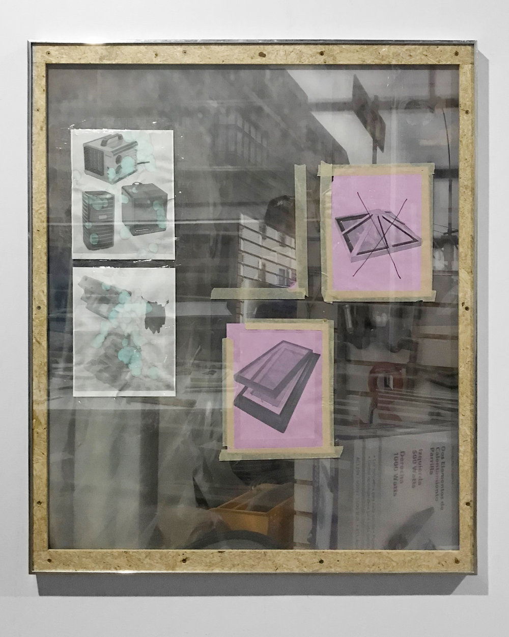 Untitled, 2017, UV print on acrylic, inkjet prints, tape, particle board, aluminum frame, hardware