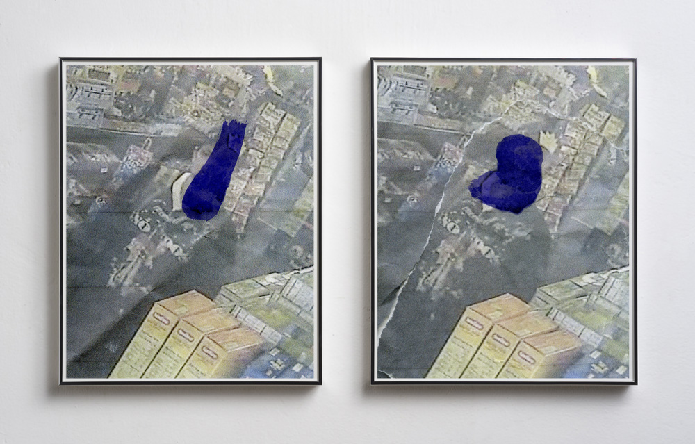 "Shoplift (Blue Marker 1 and 2), 2018, framed inkjet prints, 30x24"" each"