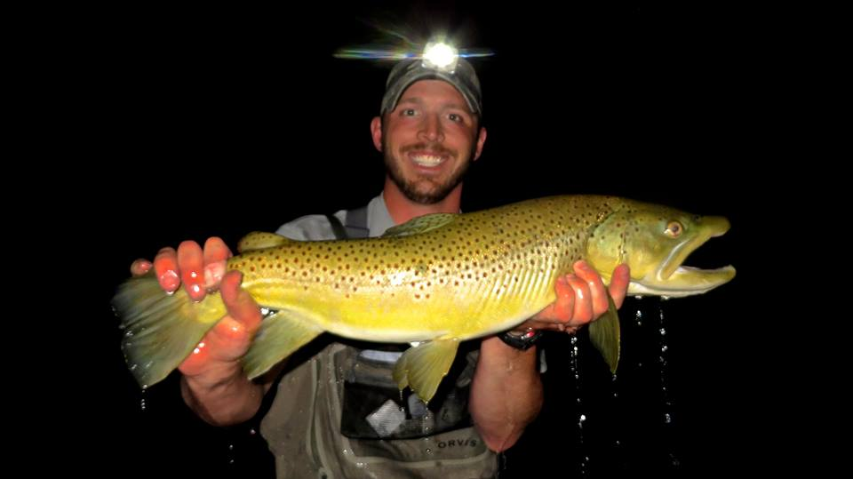 Picabo Angler Nick Anderson with a Mouse caught Brown 2 nights ago.