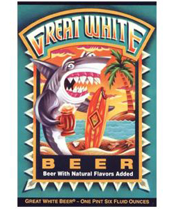 Great White    (ABV 4.8%)    A Crisp beer with a hint of citrus, made with two-row malted barley, unmalted wheat, a secret blend of Humboldt herbs, crystal clear mountain water and ale yeast.