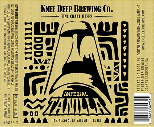 Imperial Tanilla Porter    (ABV 10.0%, IBU 48)    Knee Deep's 2 year Anniversary brew. The Imperial Tanilla was brewed with twice as many vanilla beans as its brother (Tanilla), which compliments this wonderfully balanced, yet full bodied brew with chocolate, vanilla and espresso flavors.