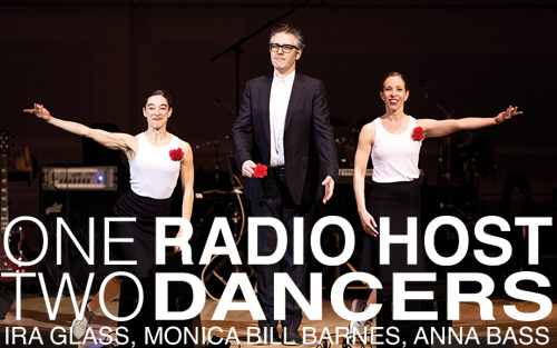 one radio host, two dancers