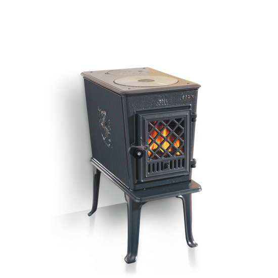 "Jotul F602 CB.  This little wood burner is one of the most popular stoves in the world. Cast iron, top or rear vent, 16"" log length.  Made in Norway"