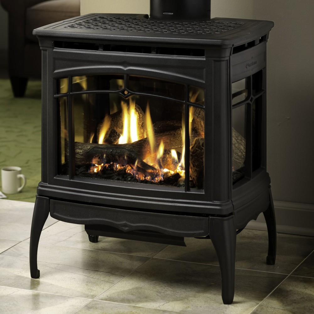 Hearthstone Bristol DX Direct Vent gas stove offers a distinctive panoramic 3-sided viewing of the fire. Potent 36,000 BTU input heats larger spaces than similar scaled products. Proflame electronic ignition system and split burner design make this a top choice.
