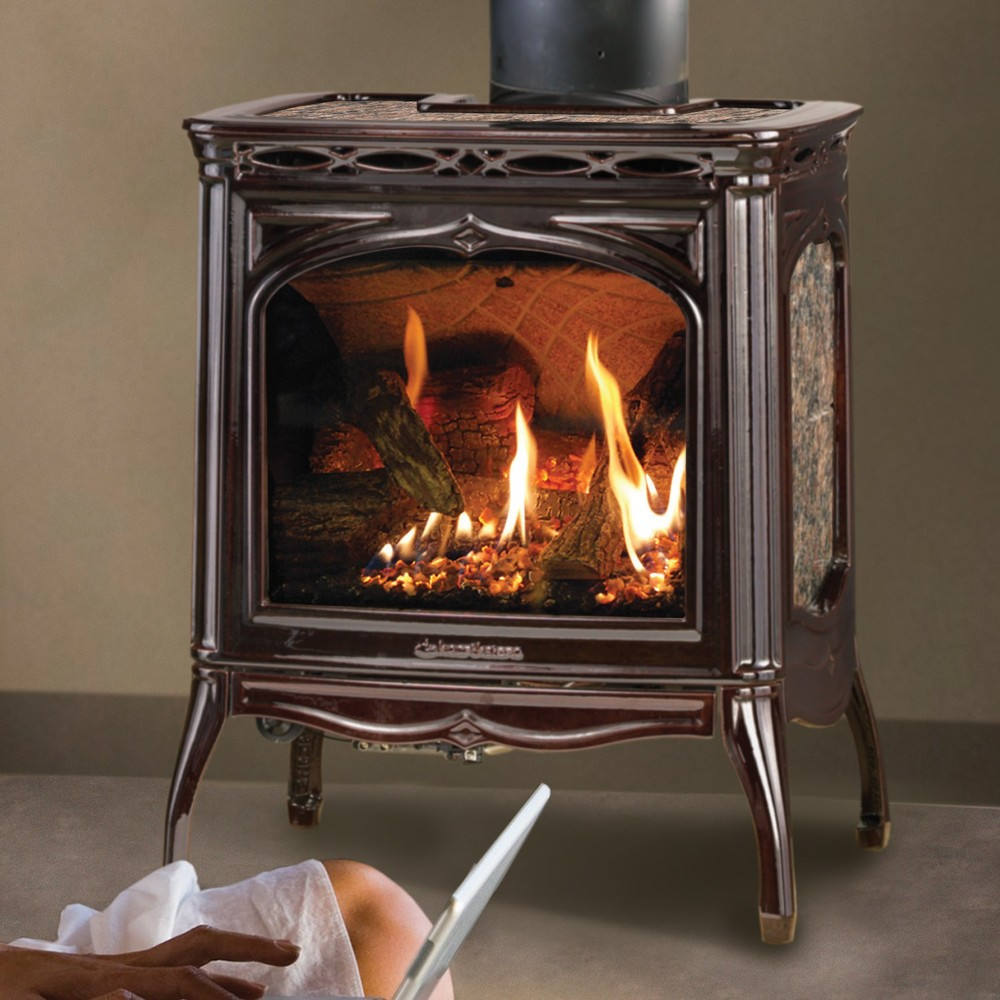Hearthstone's Tucson DX 8702 Direct Vent gas stove has enhanced design, Proflame electronic ignition system, split-burner standard, and has new look. 25,000 BTU input.