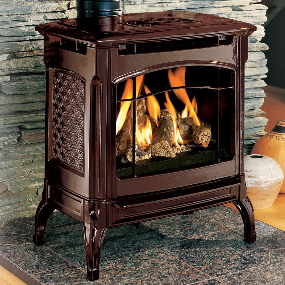 Hearthstone Champlain 8301 Direct Vent gas stove offers larger scaling in a cast-iron shell (optional brown enamel pictured). 35,000 BTU input, miilivolt ignition system, thermostat included.