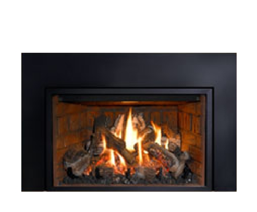 Mendota's FV33i gas fire fireplace insert is one of two full view inserts from this market innovator.  31,000 BTU rated with excellent turn down to 10,000 BTUs. Interior accent lighting adds drama to the flame picture.  Proflame II and remote control standard. A stand-out feature is that there is no tell-tale platform at the bottom of the fire as with other model designs. Blower and controls are neatly hidden. Numerous face options are available.