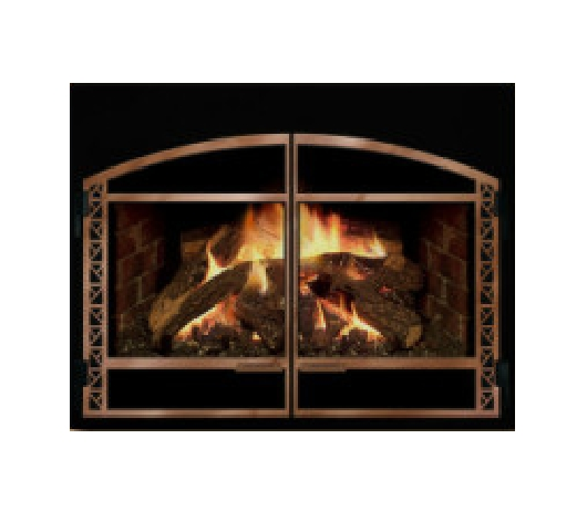 Mendota D series gas insert showing the Andover front. Multiple choices exist in terms of metal finish as well as styles. Visit Mendota's site and create your own style.