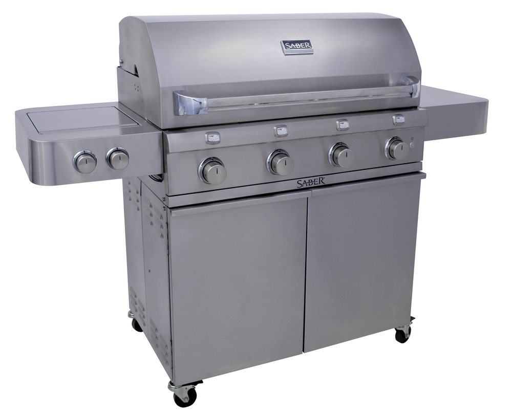 Saber R67SC0012    If you love to cook for a crowd, our largest SABER freestanding grill  has the capacity and extra features to make entertaining a breeze. 4  cooking zones allow you to adjust the cooking surface size to match the  number of people you are cooking for.  The dual tube side burner expands  your options to include frying, boiling and cooking with a wok or  skillet.        Standard Features    · The  SABER patented infrared cooking system for superior grilling  performance: IR across entire cooking surface, even temperatures, no  flare-ups, 30% less propane consumption.   learn more   · All 304 stainless steel (commercial kitchen grade), nonmagnetic   · Strong, stable, durable construction with welded tubular cart and firebox frames   · Shelves bolted to a tube frame provide solid work surfaces   · 304 stainless steel burners, grate system and emitters   · 4 cooking zones for just the right amount of cooking space.  Use one, two, three or all 4 zones.       --Saves gas by only heating the space you need for the meal you're cooking.  · Front access grease tray for easy cleaning  · Simple cleanup: just burn off and brush away food debris  · Safe, easy natural gas conversion with SABER's exclusive EZNG technology  · Fast assembly with 26 common fasteners  · SABER grate cleaning tool included   Special Features   · 895 total square inches of cooking area (670 primary, 225 secondary)  · Enclosed 304 stainless steel cart and heavy duty side shelves  · 304 stainless steel firebox exterior with seamless welded lid  · Grate-level temperature gauges for greater accuracy  · Four 304 stainless steel tube burners (32,000 total BTUs, including 18,000 for side burner)  · Dual tube side burner for greater versatility (perfect for boiling, frying, woks, skillets)  · Push and turn integrated electronic ignition at each burner for reliable start-up every time  · Adjustable 304 stainless steel warming rack with storage and roasting positions  · Interior halogen lights for nighttime cooking  · Heavy duty 3-inch locking casters