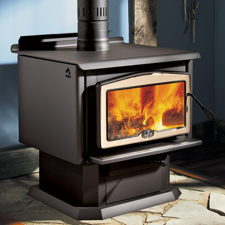Some of the Osburn 2400's impressive features include a 3.2 cubic foot firebox; a heating capacity of up to 2,700 square feet; 12.5'' of clearance in the firebox, which can accept logs up to 21''; and a burn time of up to 10 hours in slow combustion mode. In addition to its impressive performance, the 2400 is environmentally efficient, with emissions as low as 1.6 g/hour (in medium-high combustion mode. If you're looking for a large wood stove for your home or weekend cottage, the Osburn 2400 is a perfect choice.