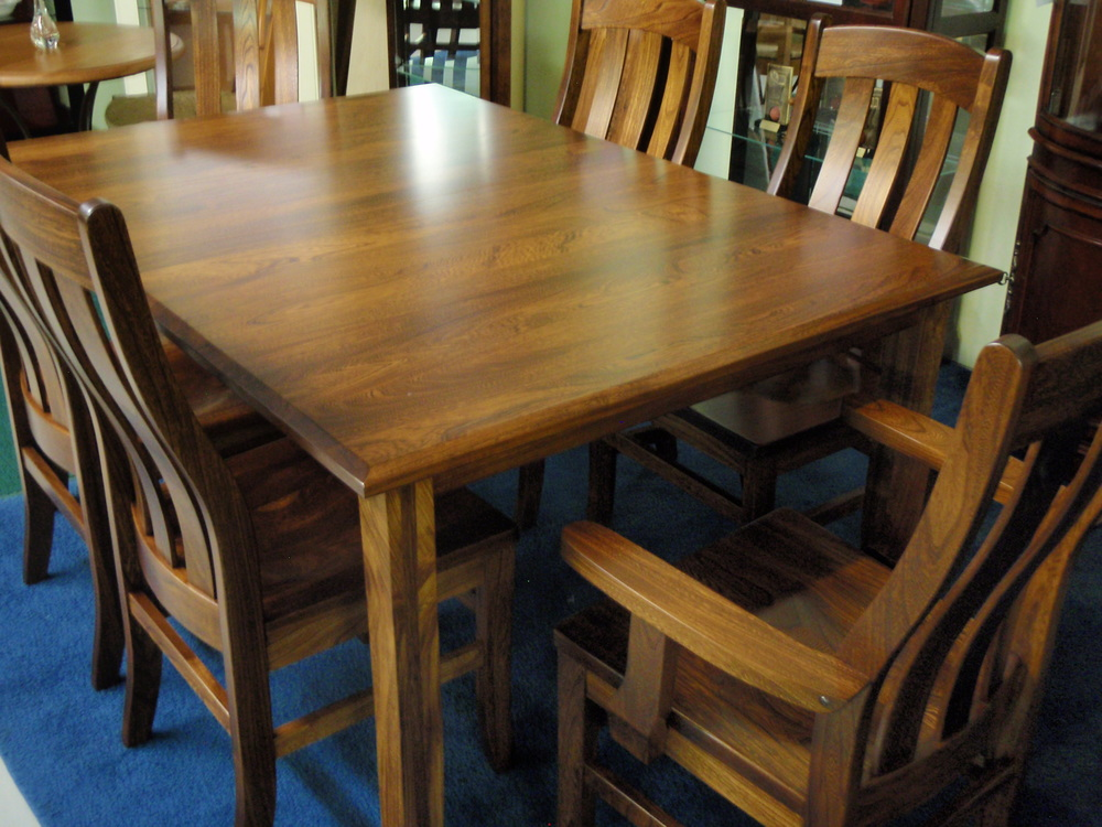 "ELM dining set...  w/ 2 12"" leaves (not shown). Spectacular grain and rich color!  Picture inadequate to show depth of color...  a must see! UPDATE 4/24/17 - only available in two tone finishes."