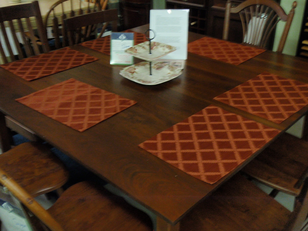 Large Square Gat Creek table with an assortment of chair styles to try!