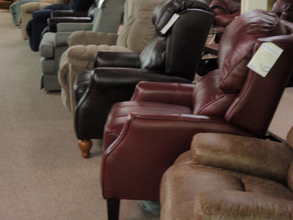 Just some of the many styles of Best recliners on the floor...