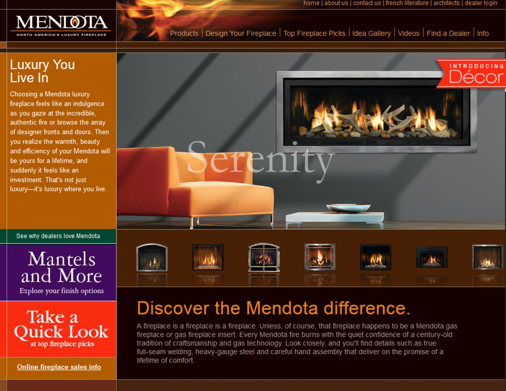 Click the image or logo to go to Mendota's website.  Rich in content and amazing selection of styles from the luxury leader in gas fireplaces.