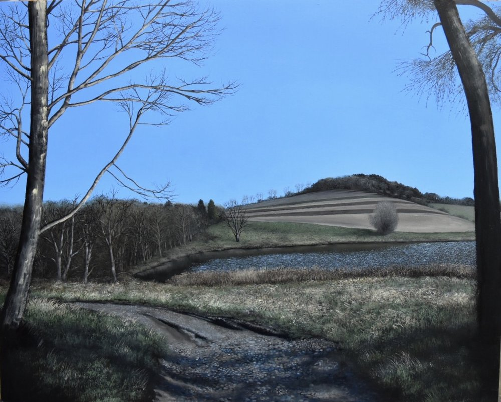 """This Steeply Sloping Hour, oil on panel, 16"""" X 20,"""" available from Garvey Simon"""