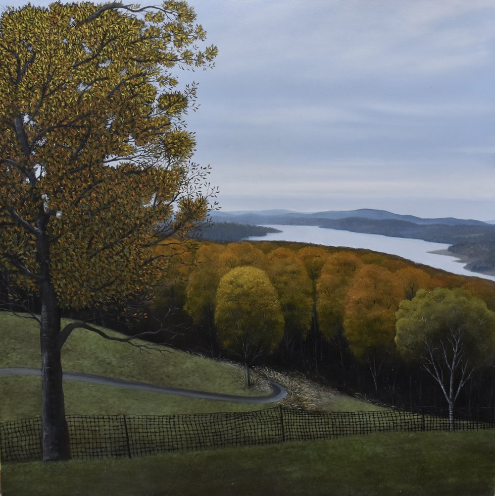 """Elegy I (Perhaps There Remains Some Tree On A Slope), oil on panel, 16"""" X 16,"""" available from Garvey