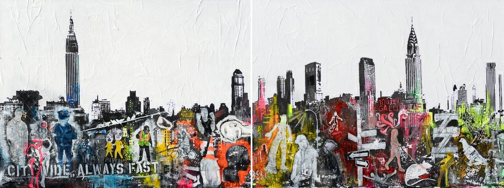 CITY WIDE ALWAYS FAST, 96x36 acrylic and mixed media on canvas, 2 panels (SOLD)