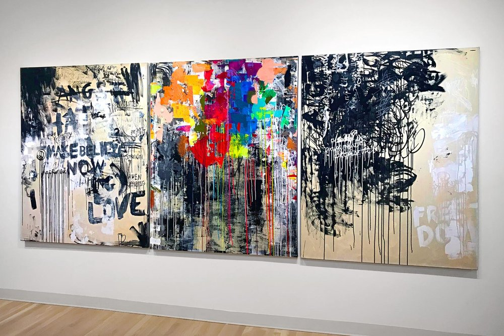 FREEDOM, 144x60 acrylic and mixed media on canvas, 3 panels