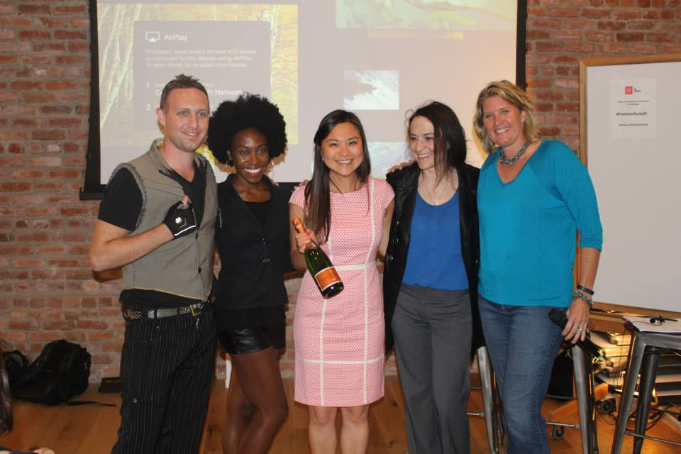 With the winner: Danielle Wen of Lace & Liberty. #MoneyandMimosas  photos by Ahmed Robb for Fashion Tech Media LLC @ http://www.fashiontechnetwork.com/ / © 2015 All Rights Reserved ]