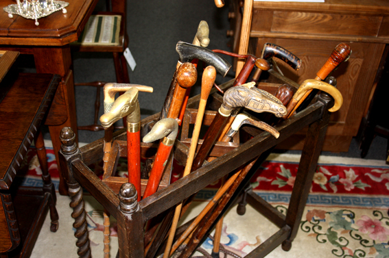 Various Walking Sticks & Stand