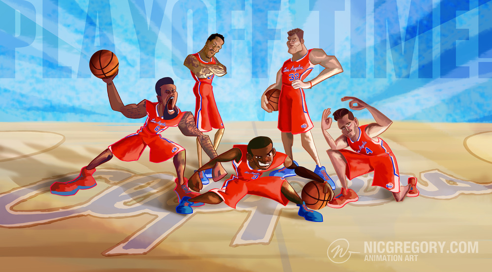 Los Angeles Clippers starting 5 Nic Gregory art.jpg