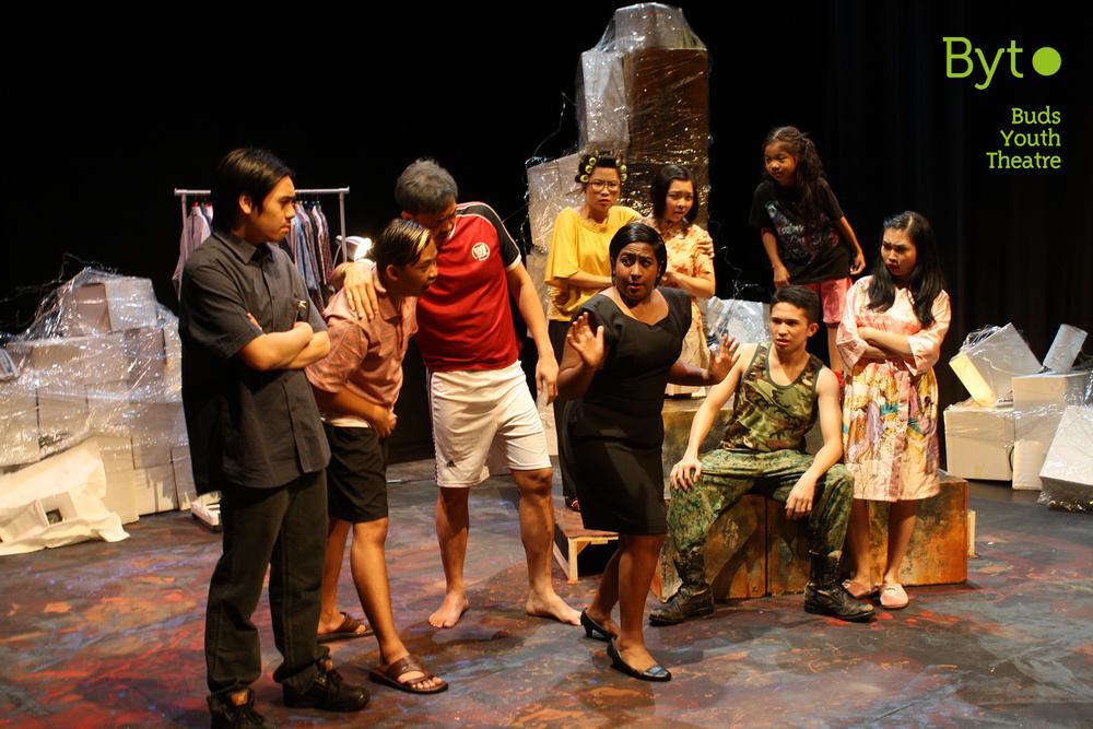 (From left to right): Mario Chan (Hong), Md Qayyum (Ah Seng,) Brandon Chiang (Father), Nabilah Mohamed Ali (Social Worker), Sim Xin Feng (Aunty Soh), Teo Dawn (Ivy), Moses San Juan (James), Alyssa Rahman (Loo) &Sheryl Lim (Ah Lian).
