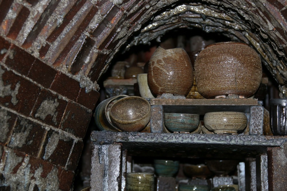 Clay goods stacked in the dragon kiln, which was still cooling down during our visit.